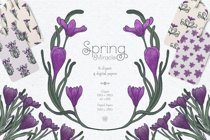 Vintage Easter clipart, spring clipart, vintage clipart