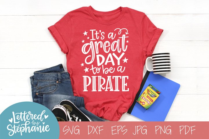Handlettered SVG DXF, Pirate School Mascot