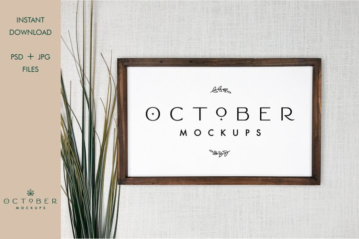 Wood Frame Mockup in PSD and JPG | Rustic Wooden Sign mockup