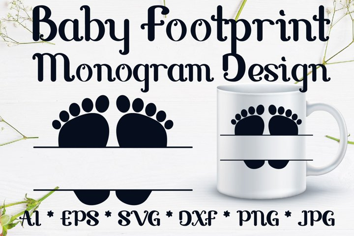 Baby Footprint monogram svg design