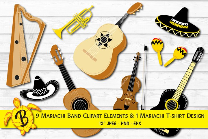 Mariachi Instruments Clip Art Illustrations