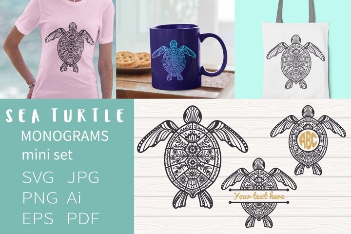 Sea Turtle Monograms svg, Sea Turtles mini bundle, Floral Se