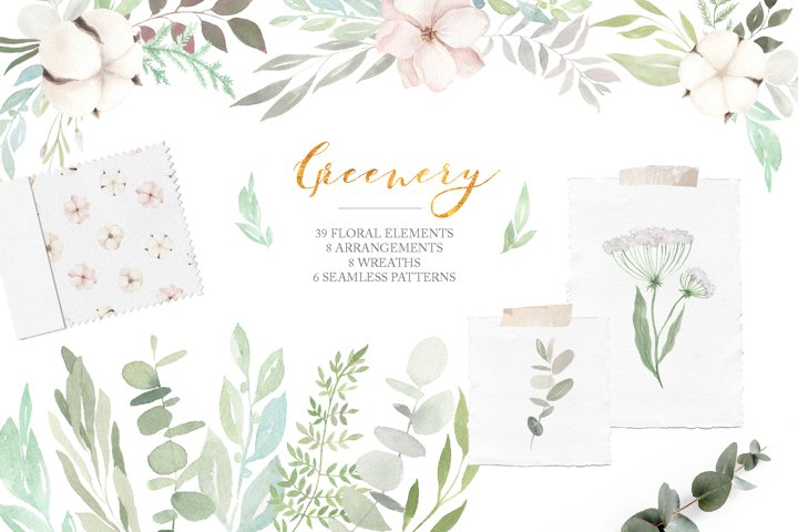 Watercolor Greenery Eucalyptus Set