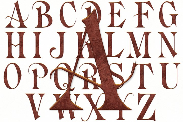 Old English Alphabet and Numbers, Old Deep Copper, Clipart