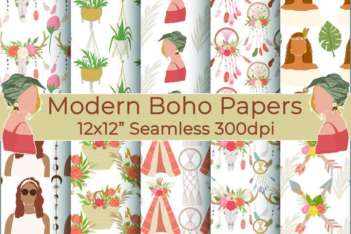 Boho Woman Digital Papers, Shabby Chic, Boho Backgrounds