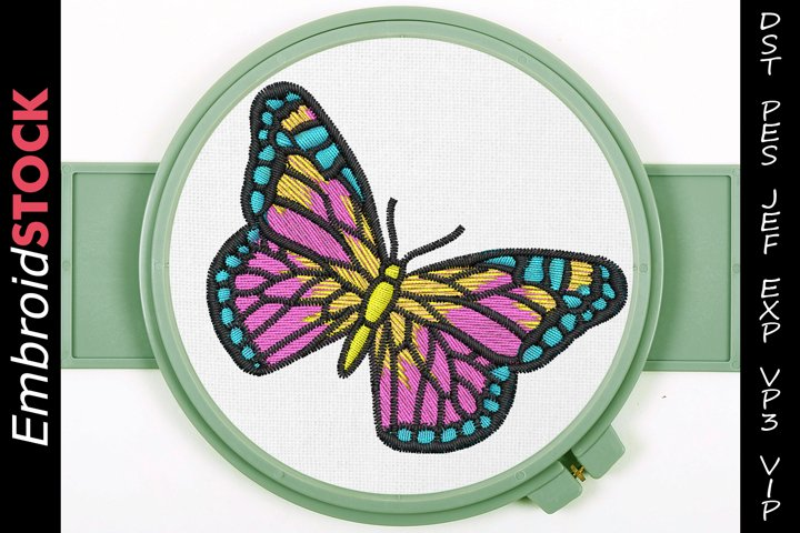 Multi Colored Butterfly Embroidery Design
