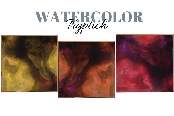 Liquid Watercolor shape abstract art. Lodge art. Triptych