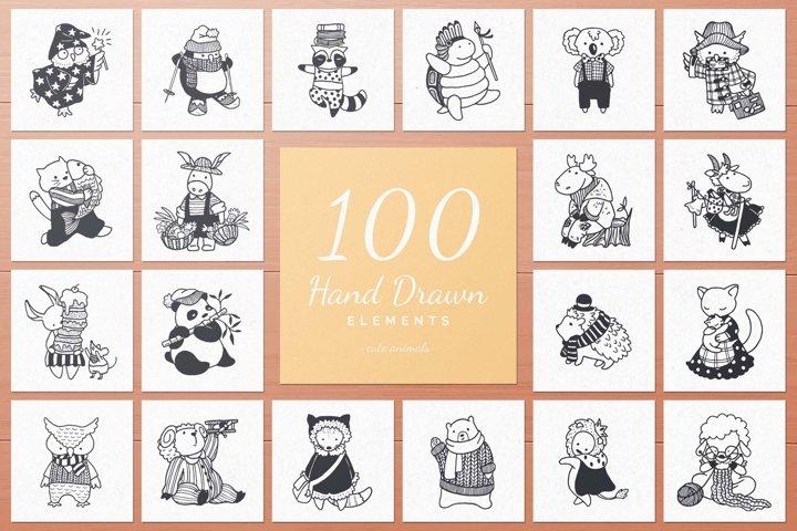 100 Hand Drawn Elements -Animals- example