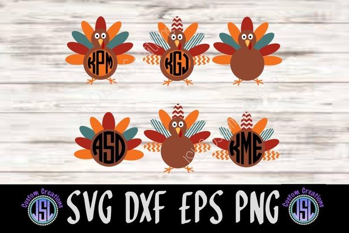 Turkey Monogram Frames Bundle Set of 6 | SVG DXF EPS PNG |
