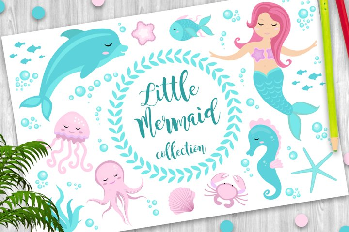 Cute set Little mermaid and underwater world