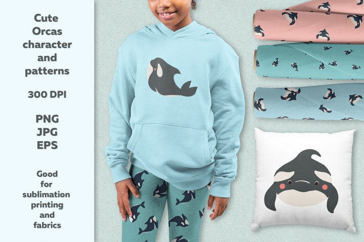 Cute orcas characters and patterns
