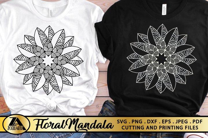 Flower SVG Hand-Drawn Flower SVG Floral Mandala SVG Cut File