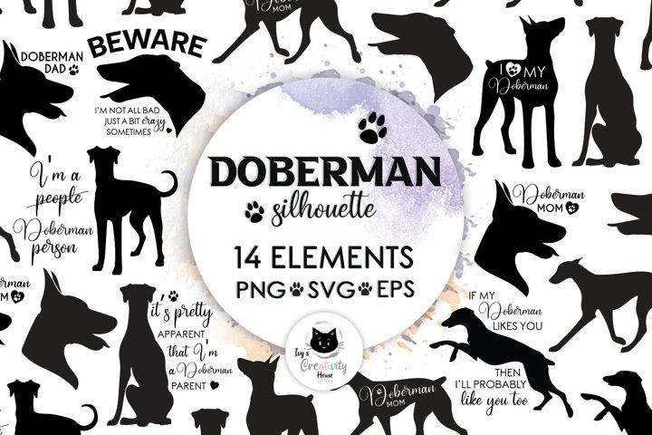 Doberman Silhouette Dog SVG Cut Files   Dog Mom Cricut Files
