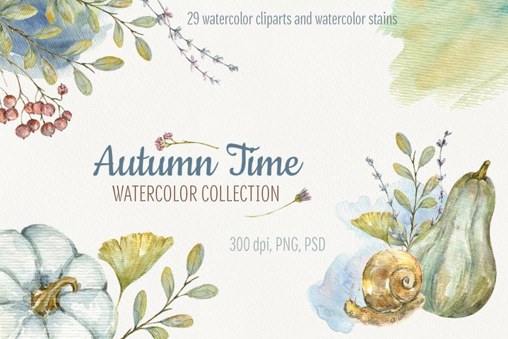 Autumn Time. Watercolor isolated cliparts