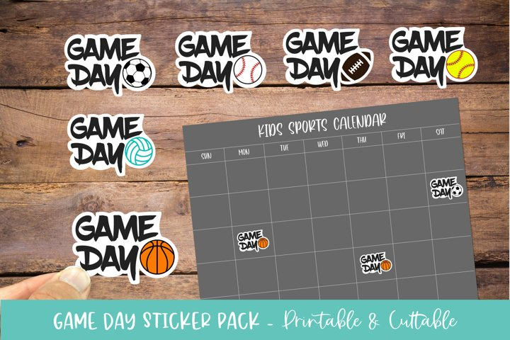 Sports Game Day Sticker Bundle 6 Pack - Printable & Cuttable