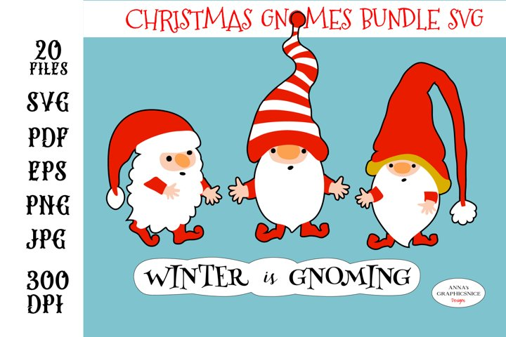 Christmas Quote with Gnomes SVG. Christmas Stickers Bundle