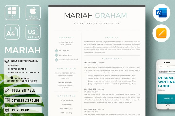 Professional Resume Template & Cover Letter. US Letter & A4