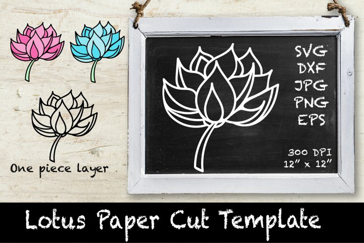 Lotus SVG. Lotus Paper Template. Lotus Cut Design.