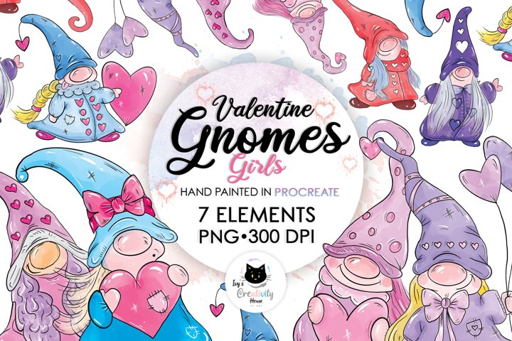 Valentine Gnomes Clipart Set | Cute Gnomes for Sublimation