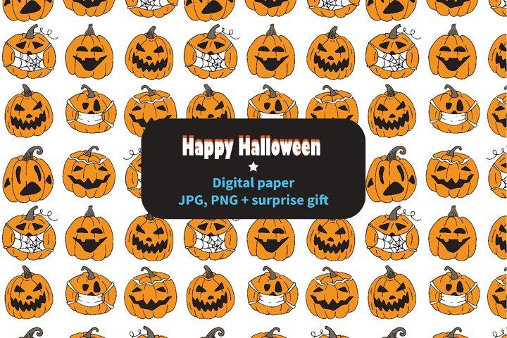 Halloween digital paper, seamless pattern & BONUS GIFT