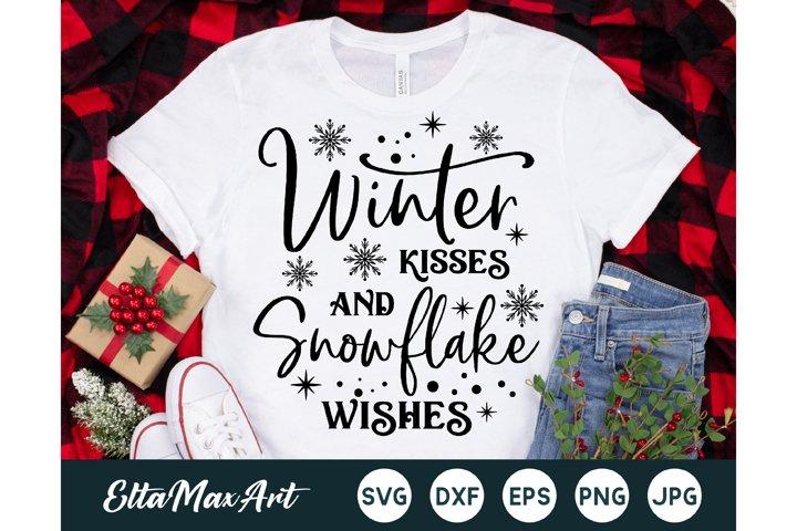 Winter kisses and snowflake wishes Christmas shirt svg,