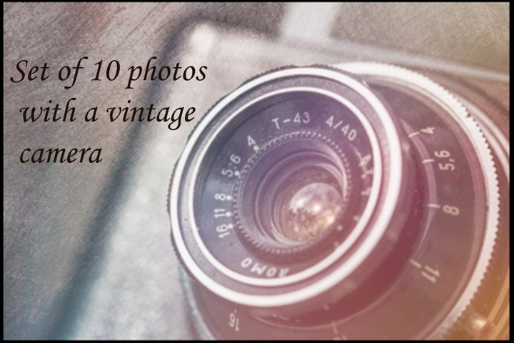 Set of 10 photos with a vintage camera