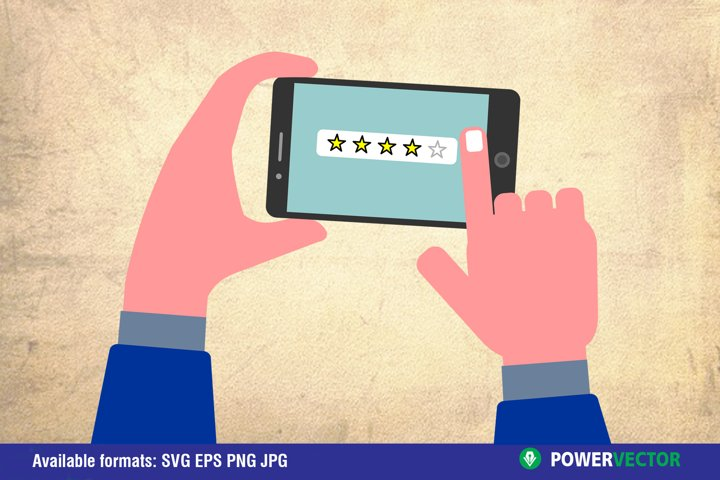 Online review, Star rating, Feedback concept, Review rating