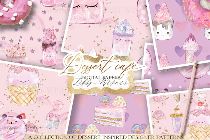 Dessert Cafe Patterns digital papers