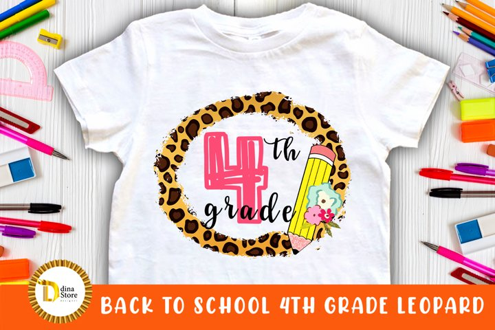 Back to school Sublimation clipart 4th grade leopard frame