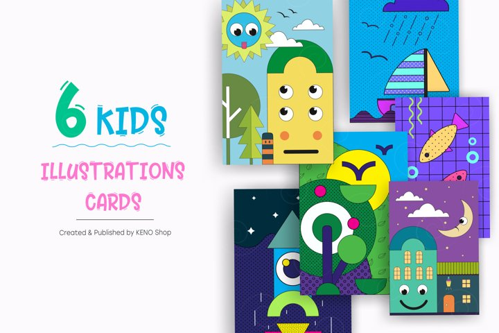 Cute Kids illustration posters.