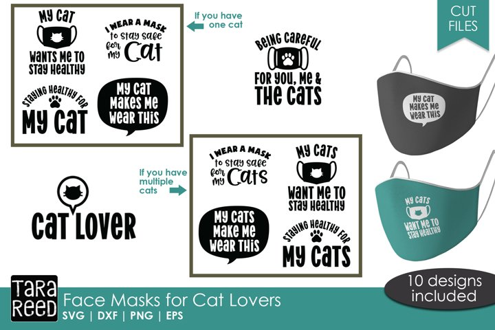 Face Mask Sayings for Cat Lovers - SVG and Cut Files