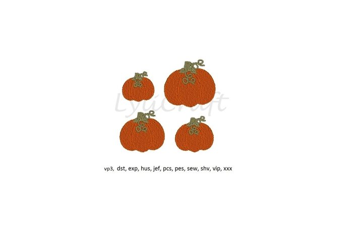 Pumpkin embroidery design, mini pumpkin machine embroidery