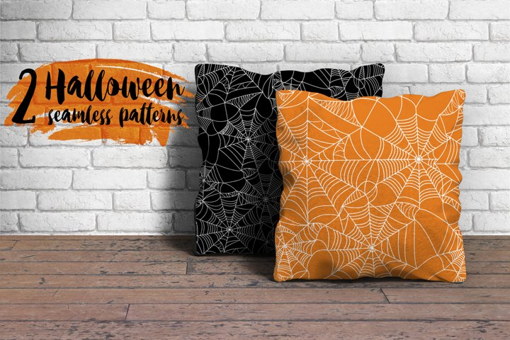 2 Halloween Holiday Seamless Patterns with spider web