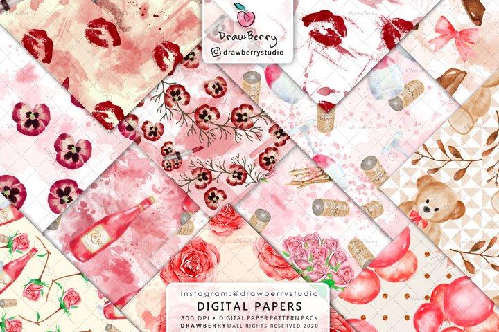 Love Digital Paper Valentine Seamless Background