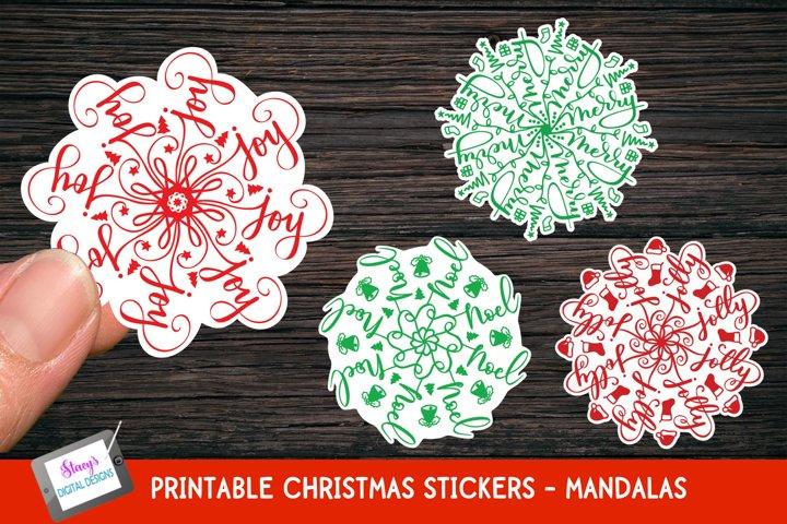 Christmas Stickers - 4 Christmas Mandala Stickers