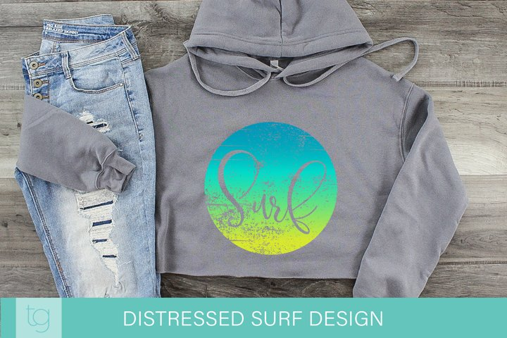 Distressed Surf Beach Sublimation Design | Blue Green Yellow
