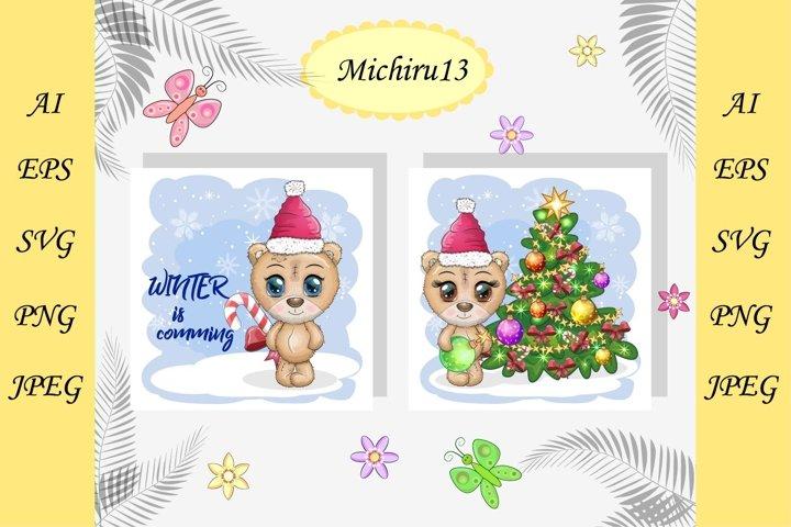 2 Christmas cards with cute bear, Merry Christmas, New Year