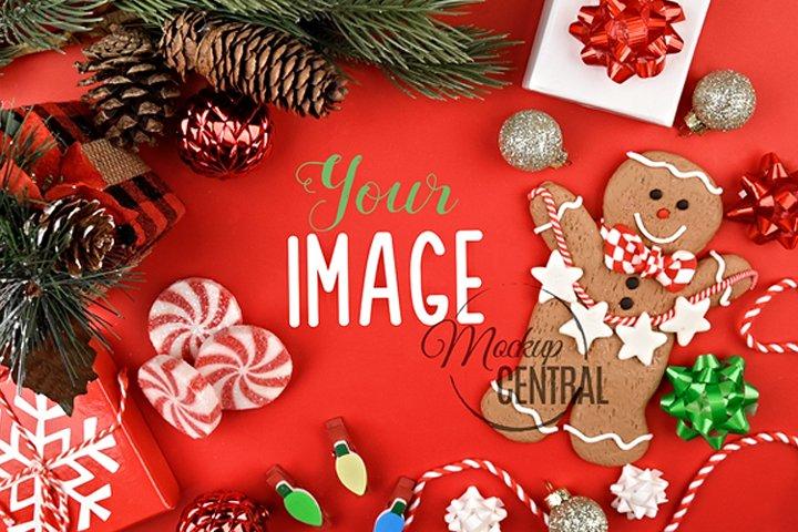 Red Christmas Background Tabletop Mock Up, JPG Mockup