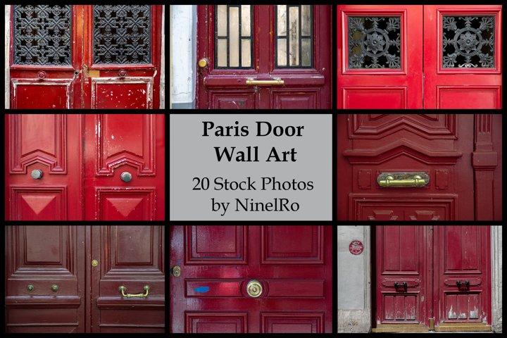 Paris door wall art set of 20 photos. Vintage red doors