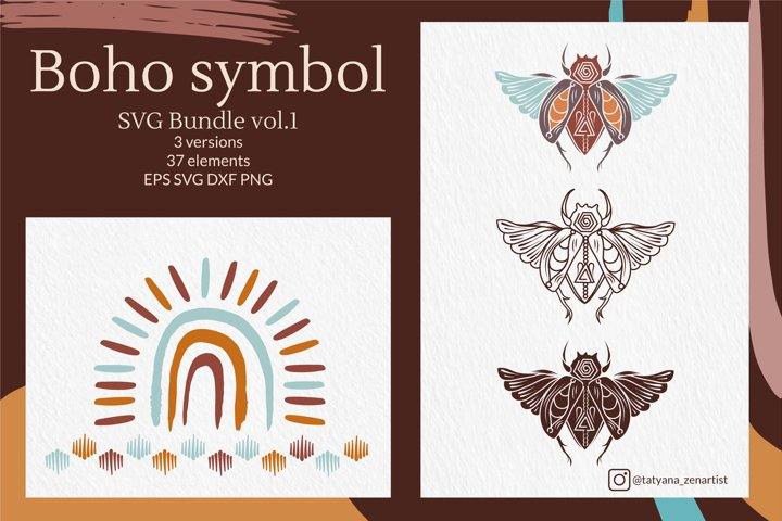 Tribal Boho symbol SVG bundle vol 1, Doodle Bohemian element