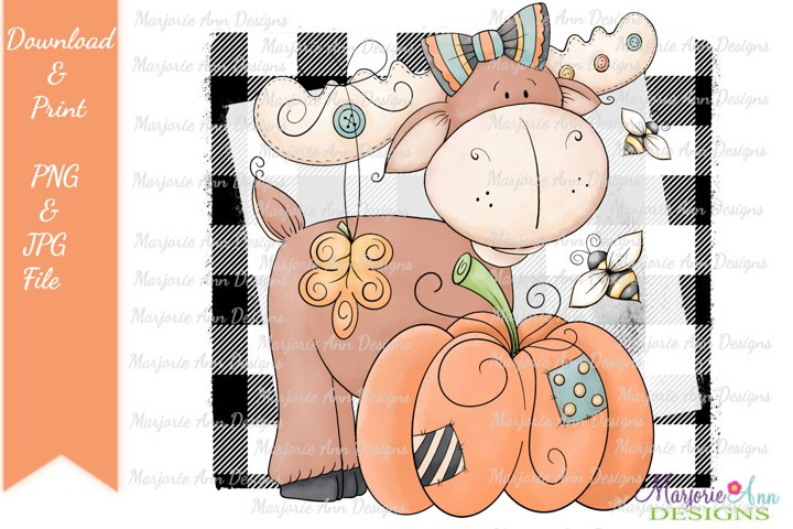Fall Moose PNG/JPG Sublimation Designs