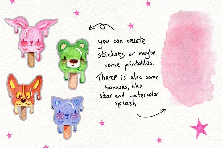 Watercolor Ice Cream Animals example 1