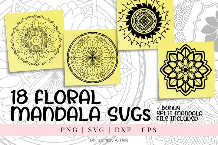 18 Floral Mandala SVG Bundle