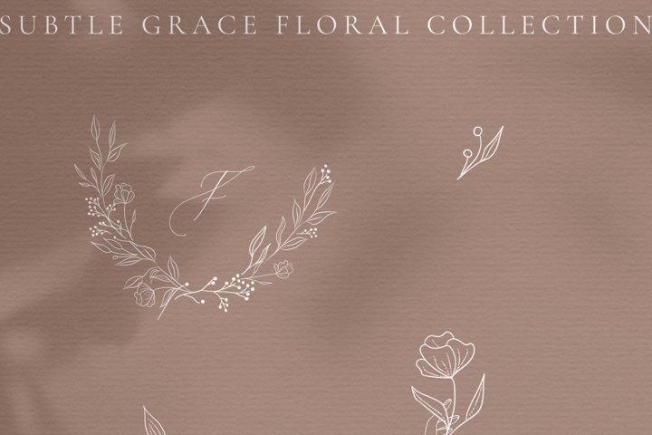 White Subtle Grace. Line drawing delicate wreaths, florals.