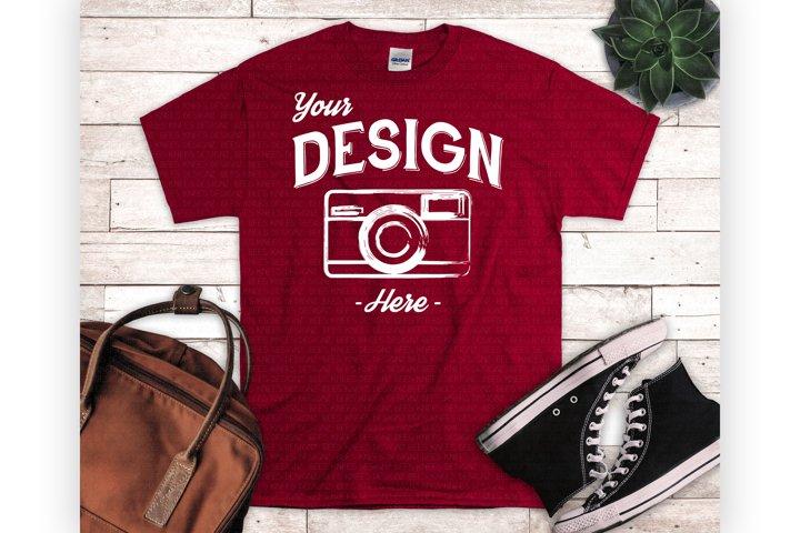 Red Tshirt Mockup Styled Flat Lay Cardinal Red Shirt Mock Up