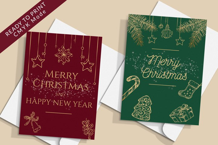 8 Christmas Cards, Merry Christmas and Happy New Year