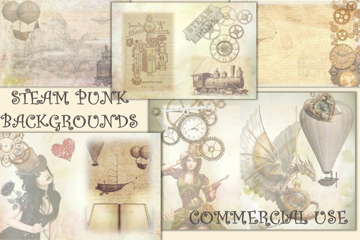 SteamPunk Collage Sheets 8.5 x 11 inches. JPEG and PDF