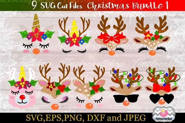 SVG, Eps, Dxf & Png Files For Christmas Bundle 1