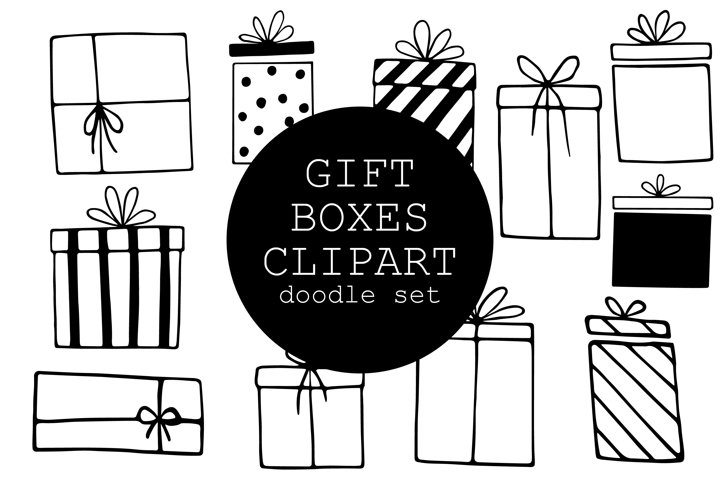 Doodle Gift Boxes Clipart Set - 11 hand drawn elements