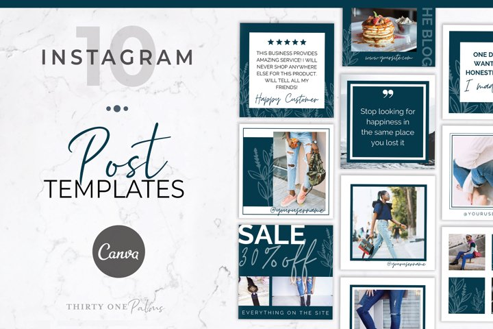 Instagram Post Templates for Canva | Blue Blossom
